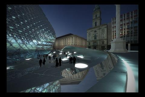 Zaha Hadid's proposed mixed-use building for Szervita Square in the historic centre of Budapest